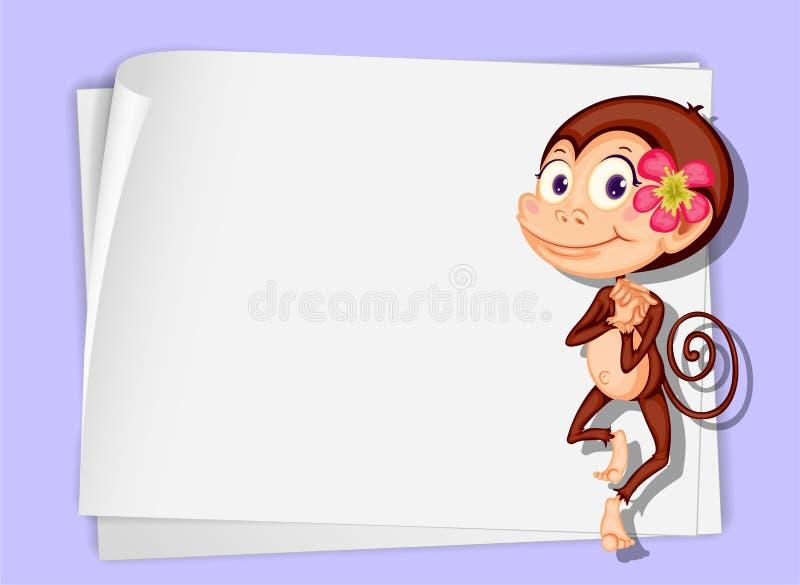 Monkey on paper royalty free illustration