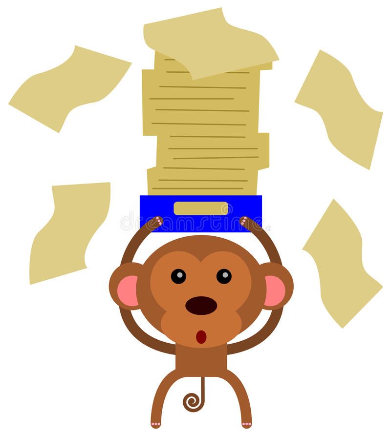 Monkey Paper Work Royalty Free Stock Image