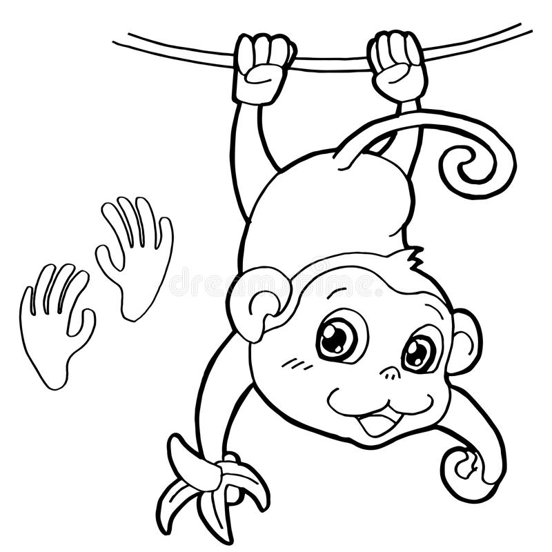 Monkey With Paw Print Coloring Page Vector Stock Vector ...