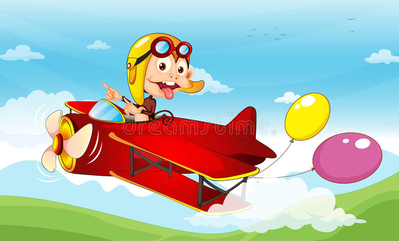 Monkey in a plane royalty free illustration