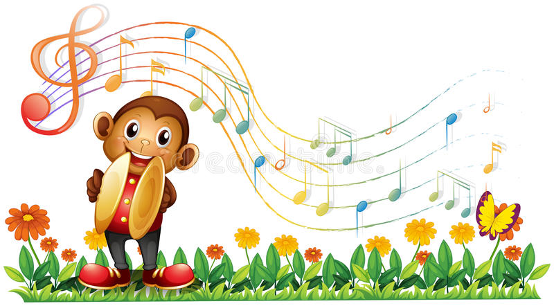 A monkey playing with the cymbals royalty free illustration