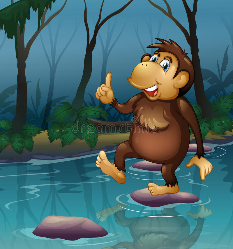 Download A monkey in the pond stock illustration. Image of hair - 33314787
