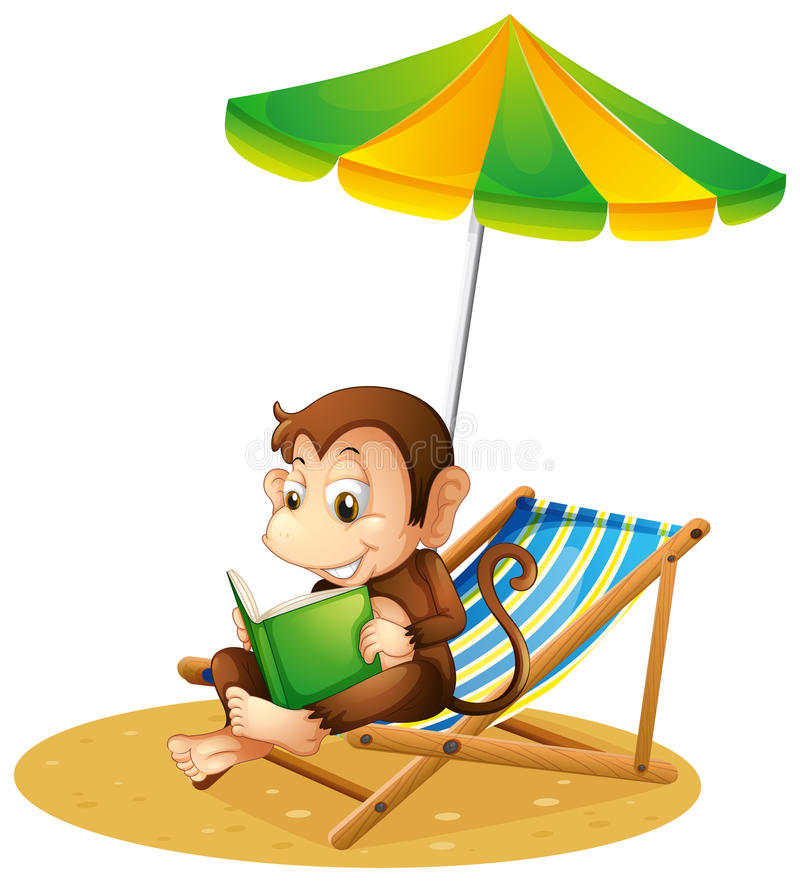 A Monkey Reading A Book At The Beach Stock Vector
