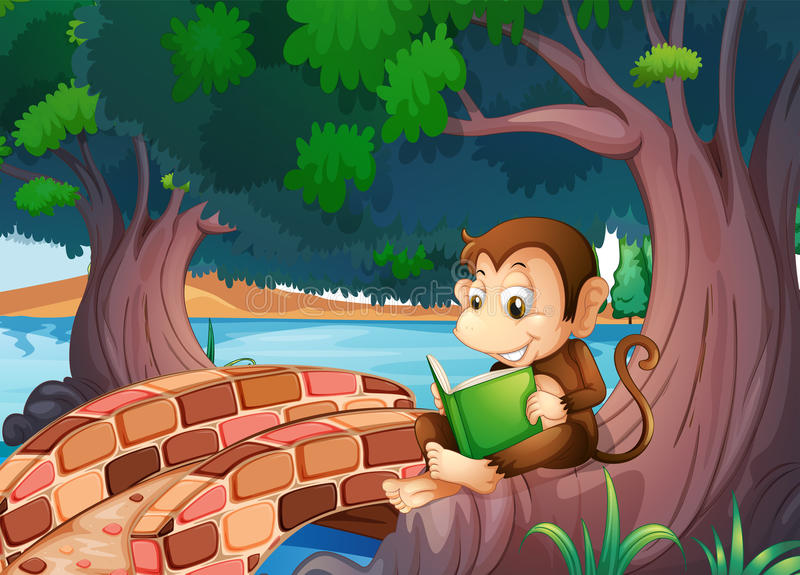 A Monkey Reading A Book Under The Big Tree Near The Bridge Royalty Free Stock Photography