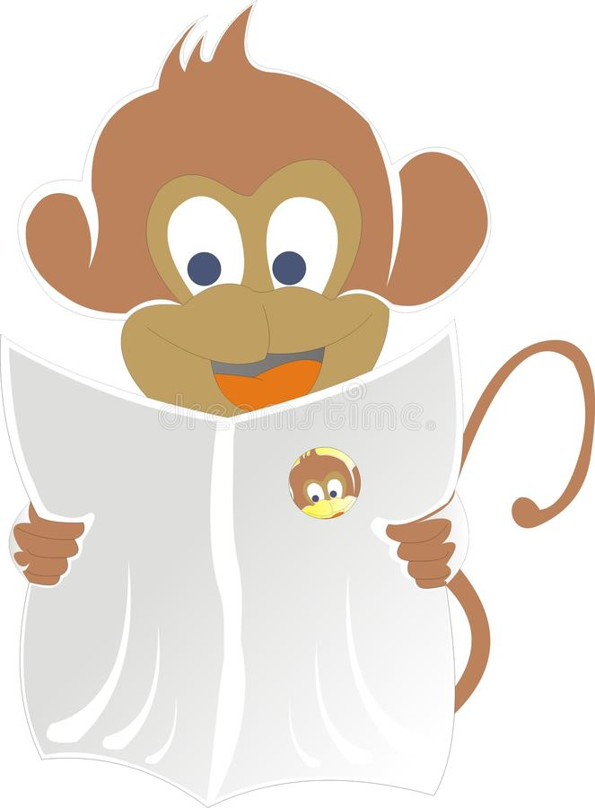 Monkey Reading Newspaper royalty free stock image