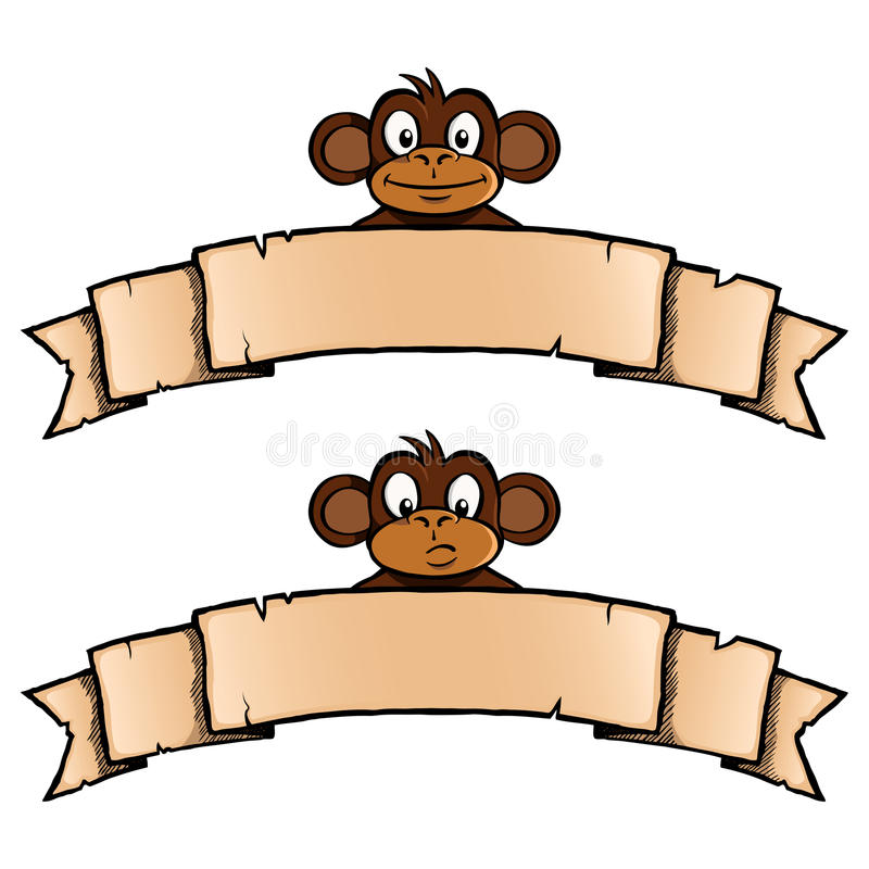 Download Monkey with ribbon banner stock vector. Illustration of decoration - 33026146