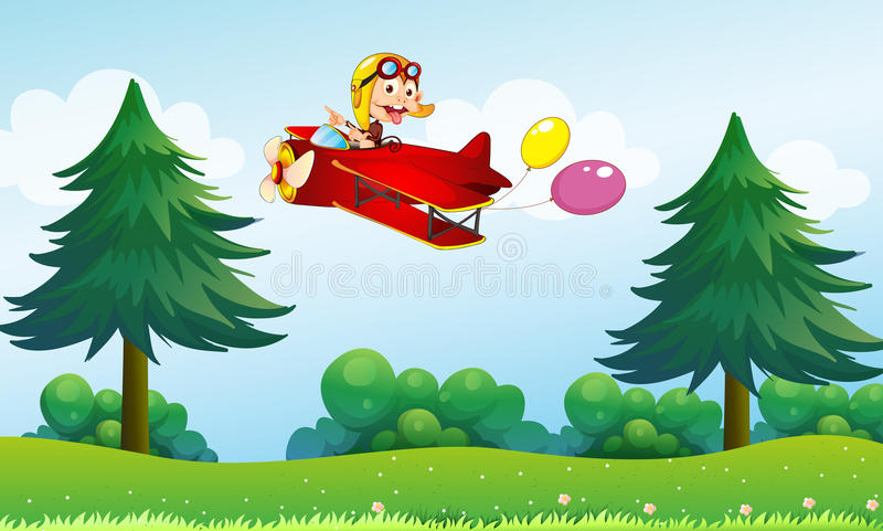A monkey riding in an aircarft with two balloons royalty free illustration
