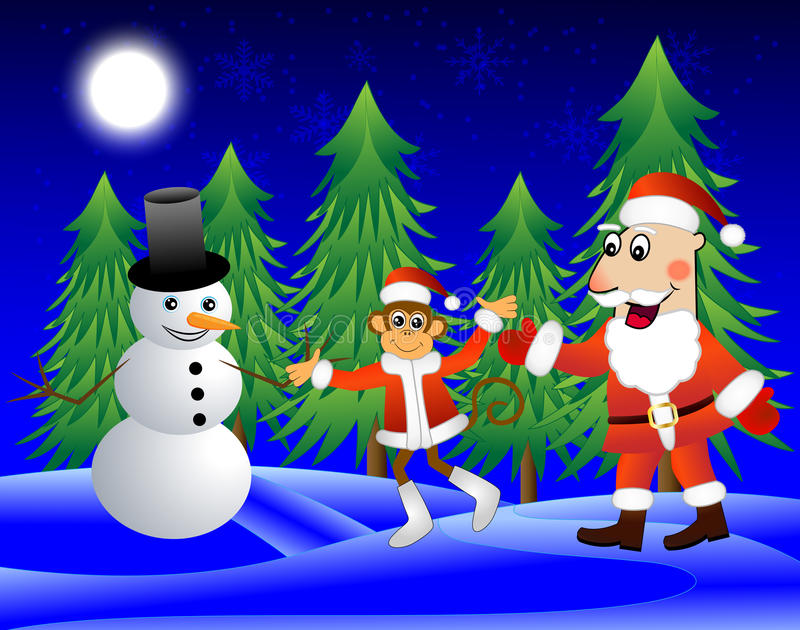 Monkey , Santa Claus and snowman on the edge of the forest royalty free illustration