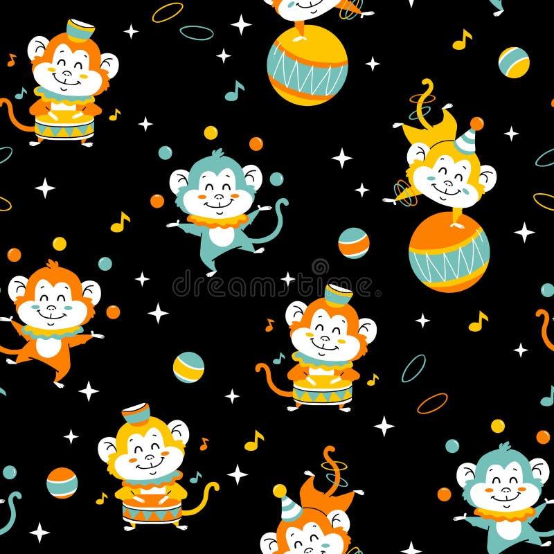 Monkey seamless pattern vector illustration