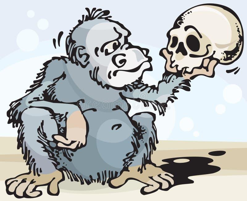 Monkey and Skull vector illustration