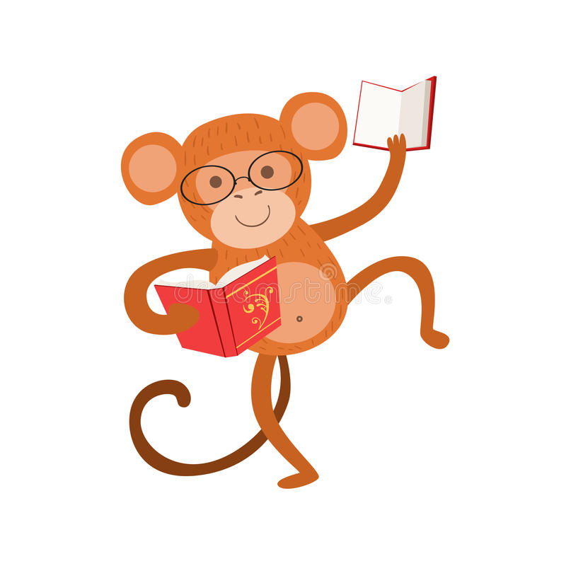 Monkey Smiling Bookworm Zoo Character Wearing Glasses And Reading A Book Cartoon Illustration Part Of Animals In Library vector illustration