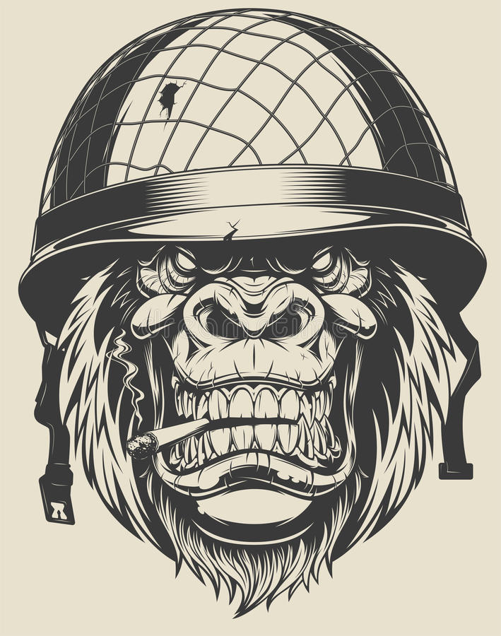 Monkey soldier with a cigarette stock illustration