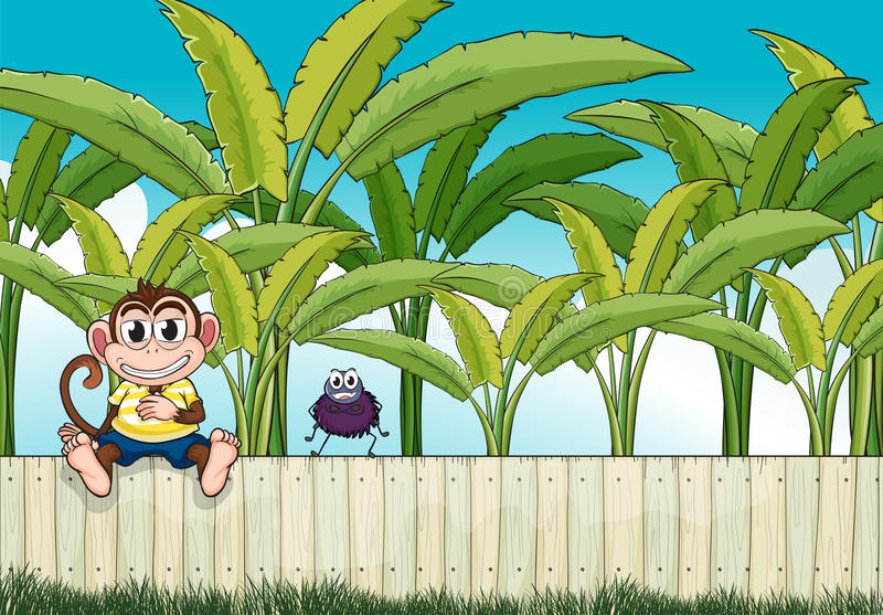 A monkey and a spider stock illustration