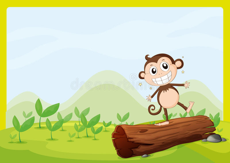 A monkey standing on wood