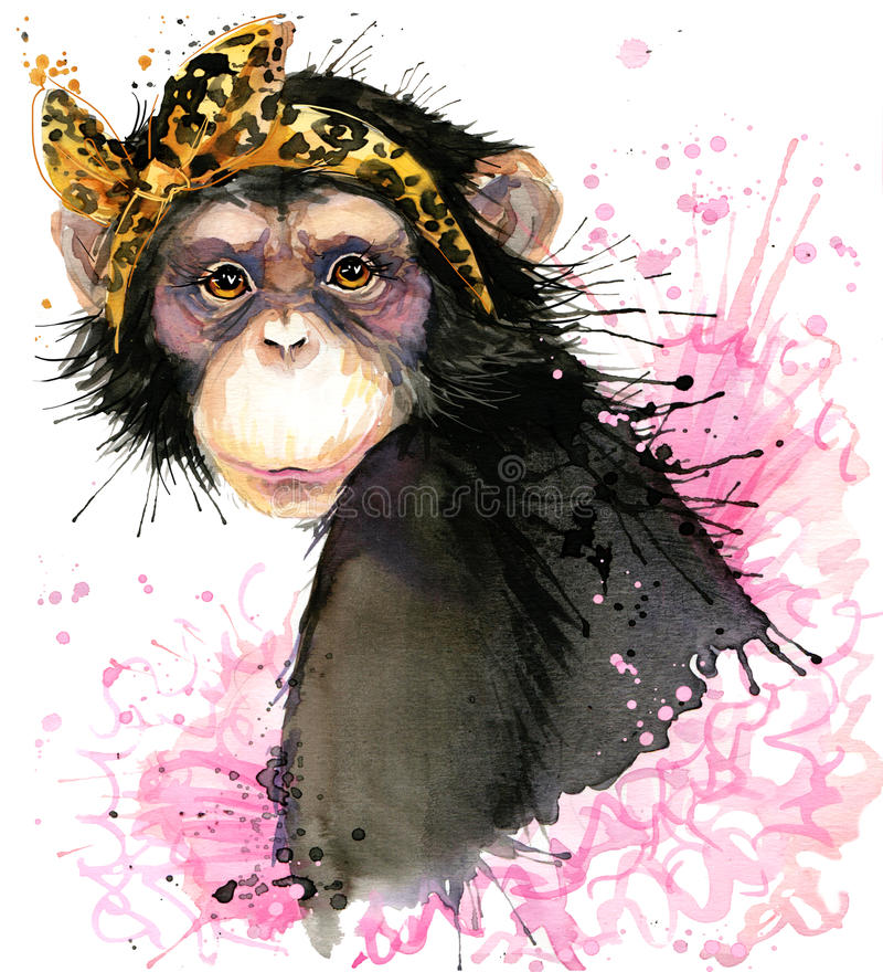 Monkey T-shirt graphics, monkey chimpanzee illustration with splash watercolor textured background. Girl monkey T-shirt graphics, monkey chimpanzee illustration