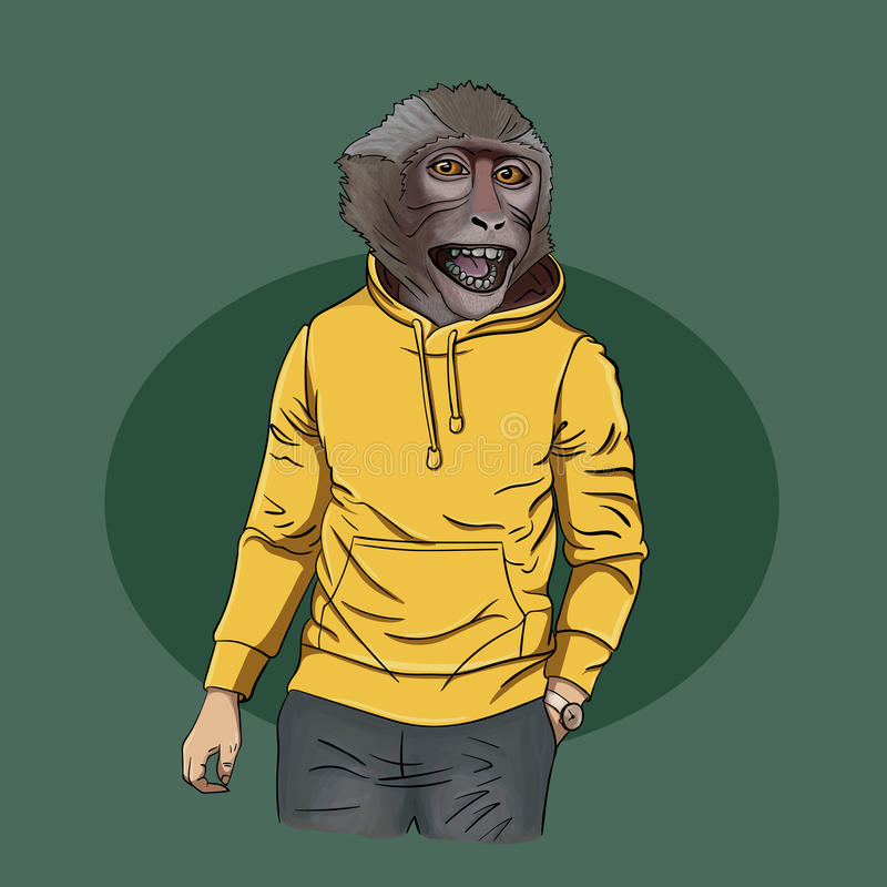 Monkey teen wearing hoodie with print, furry art illustration, stock images