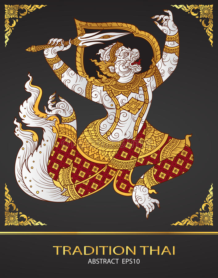 Monkey thai tradition outline. Vector royalty free illustration