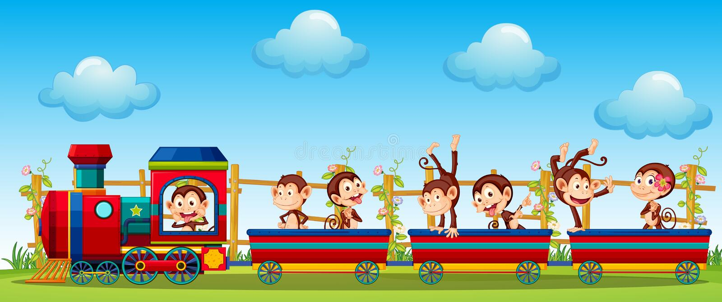 Monkey and train vector illustration