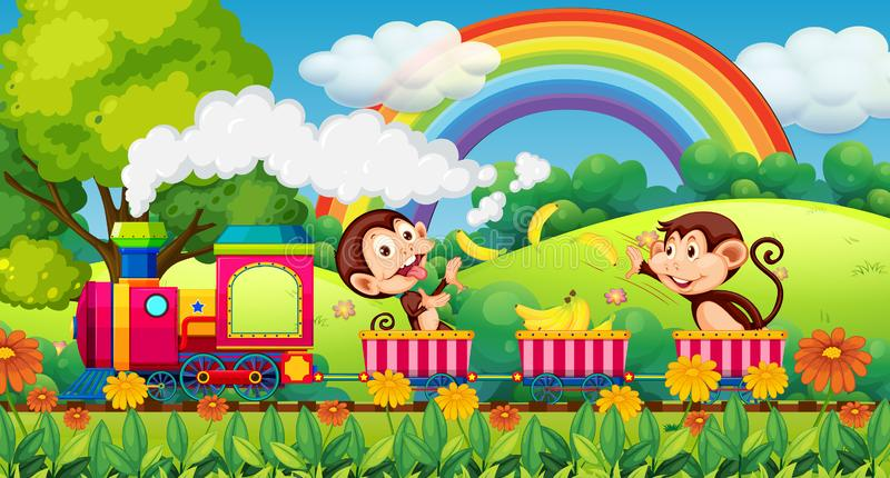 Monkey travel in nature by train royalty free illustration