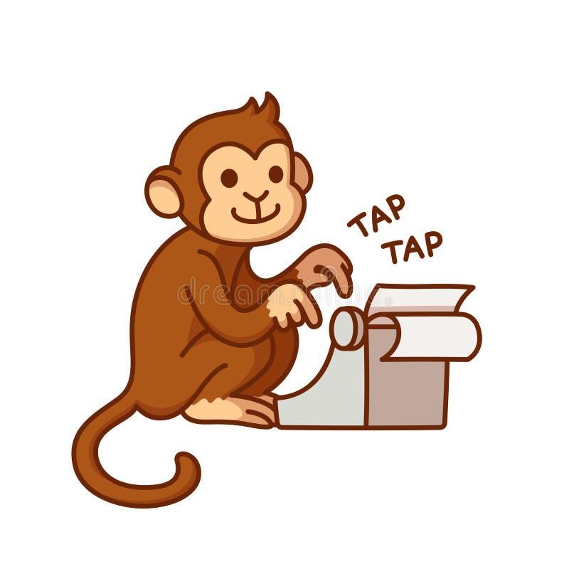 Monkey with typewriter. Humorous cartoon illustration. Cute vector drawing royalty free illustration