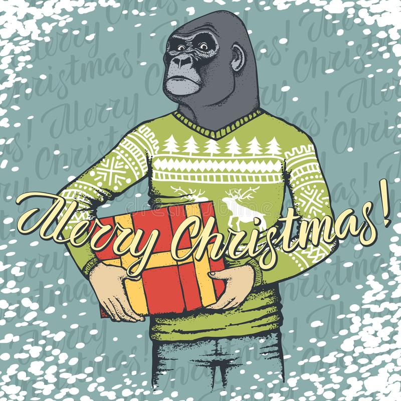 Monkey vector Christmas concept vector illustration