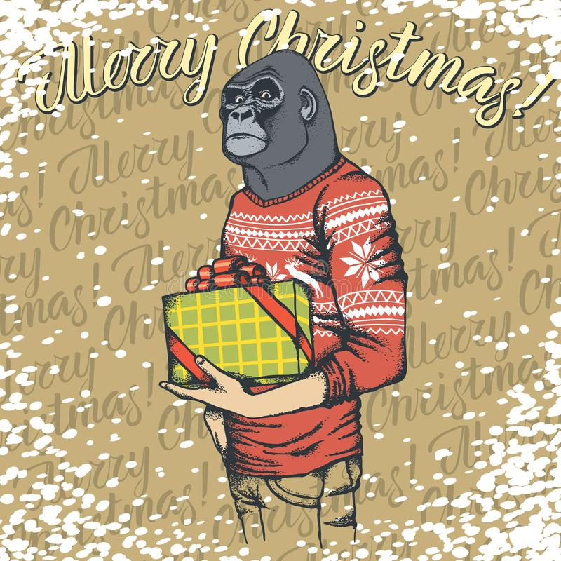 Monkey vector Christmas concept stock illustration