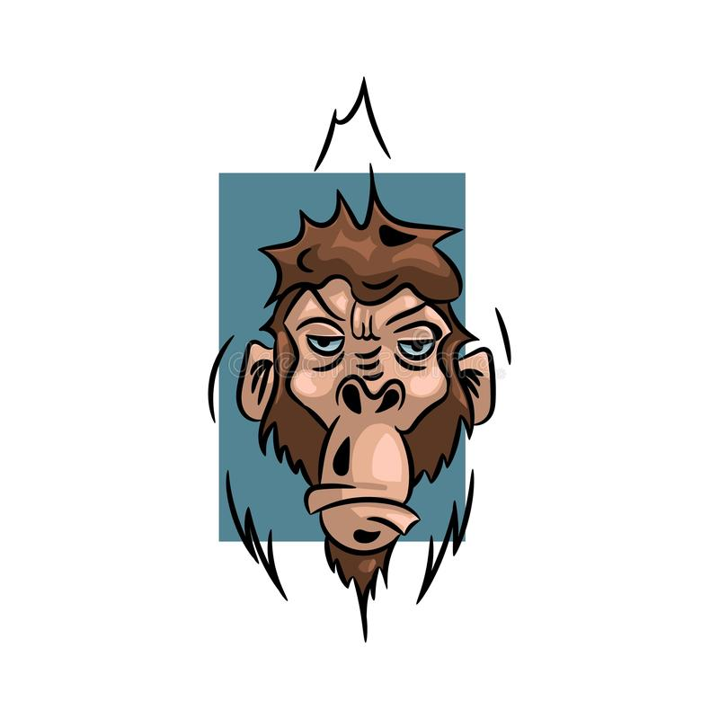 Monkey vector illustration, logo design template with monkey royalty free stock photo