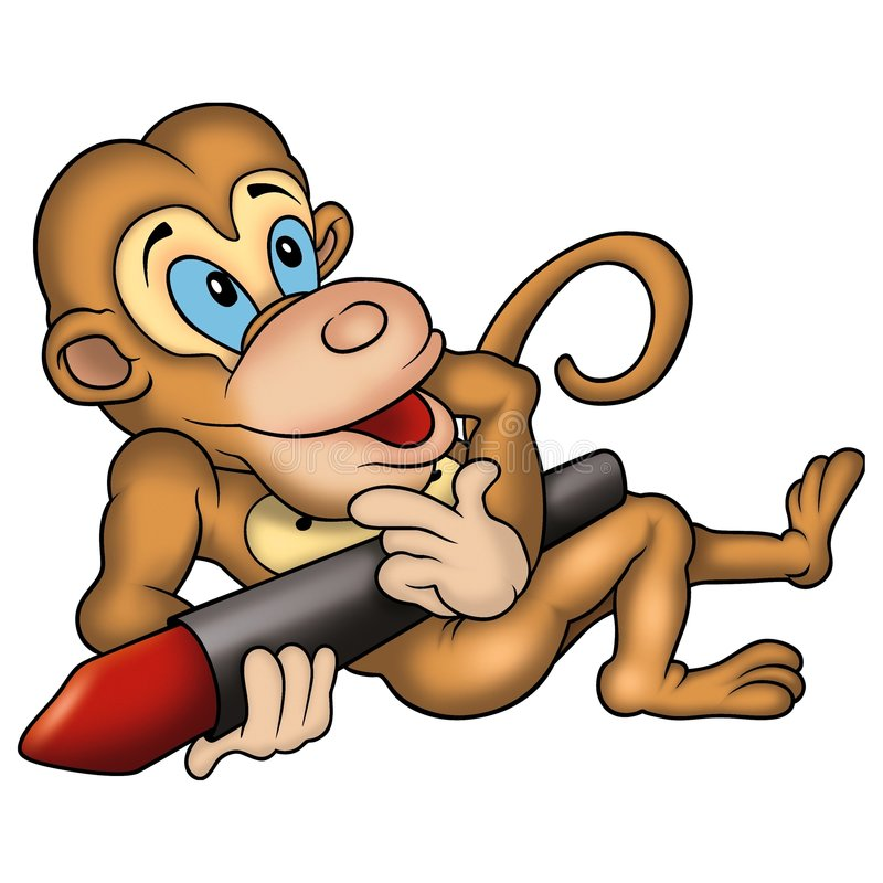 Monkey and wax-crayon royalty free stock images