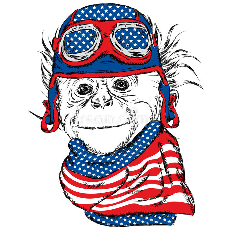 Monkey wearing a helmet. Vector illustration for greeting card, poster, or print on clothes. royalty free illustration