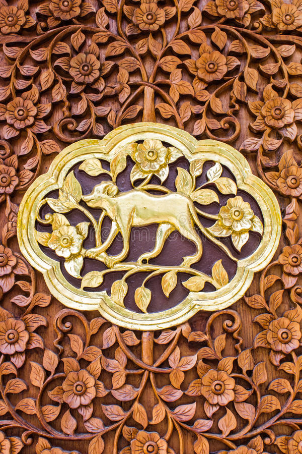 Monkey Wood Carving Wall Sculptures In Thai Temple Stock Image ...
