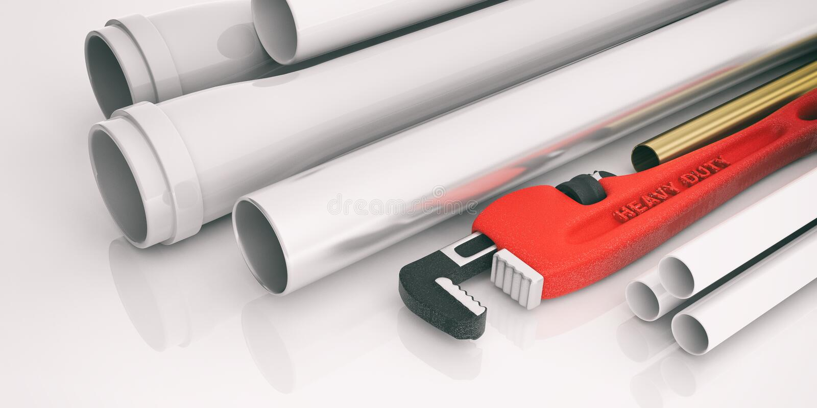 Monkey wrench and pipes on white background. 3d illustration stock illustration