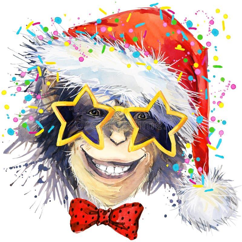 Monkey year. Cool monkey watercolor illustration. vector illustration