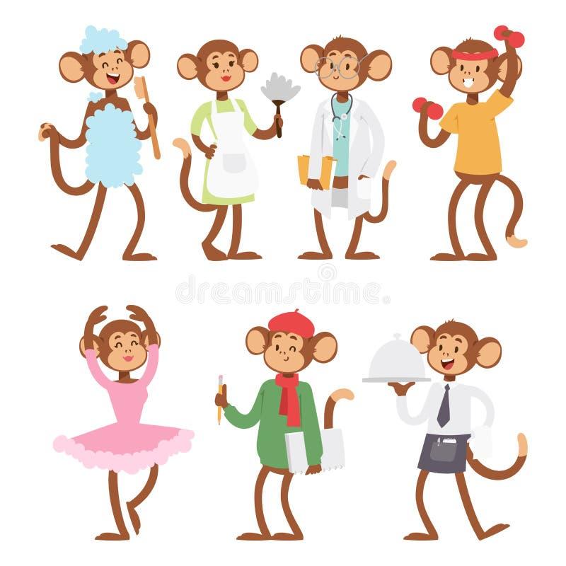 Monkeys редкая животная макака шаржа вектора как иллюстрация шимпанзе обезьяны зоопарка характера примата природы людей одичалая бесплатная иллюстрация