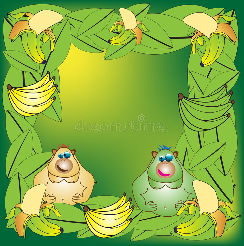 Download Monkeys and bananas stock vector. Image of cheerful, expression - 6708519