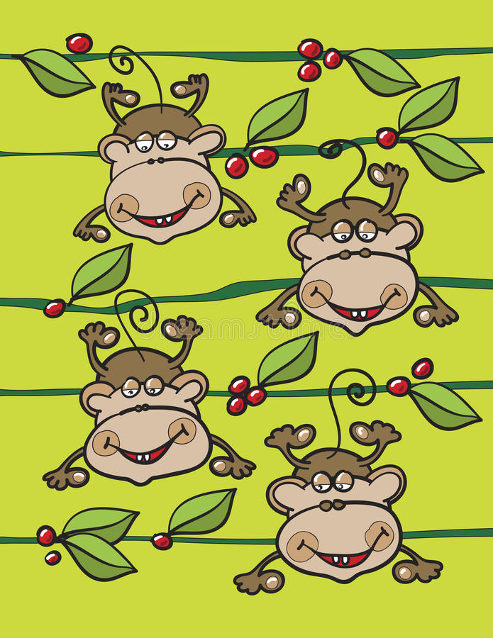 Download Monkeys Fruits And Leaves Royalty Free Stock Photo - Image: 26281155