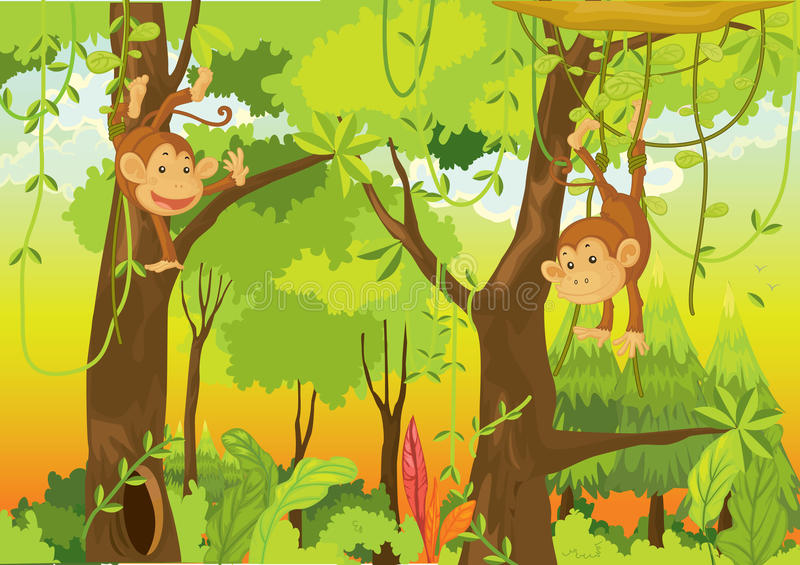 Download Monkeys in the jungle stock vector. Illustration of natural - 10234382