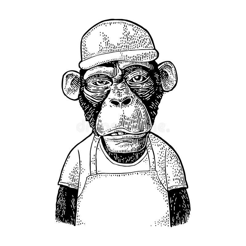 Monkeys le travailleur d'aliments de préparation rapide Gravure noire de vintage pour le T-shirt illustration stock