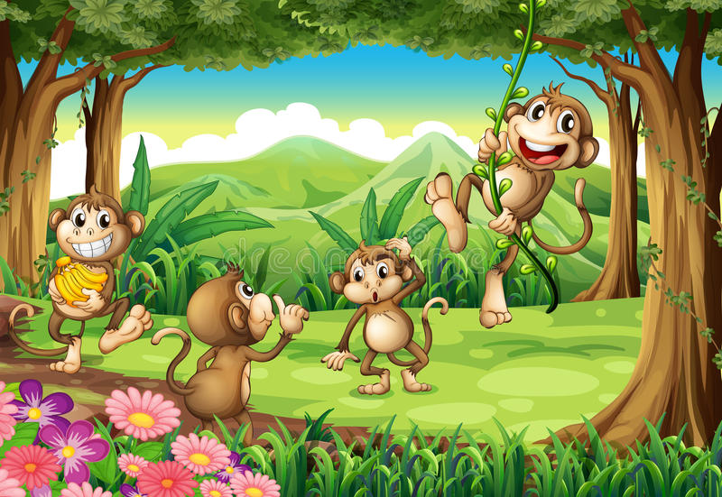 Monkeys playing stock illustration