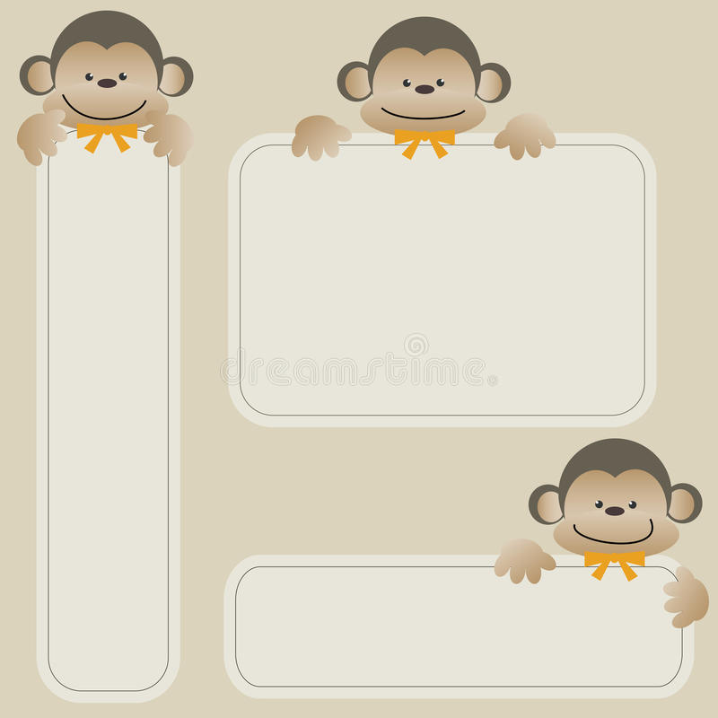 Free Monkeys With Banner Royalty Free Stock Photography - 23825327