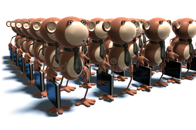 Monkeys at work. Clones and robots stock illustration