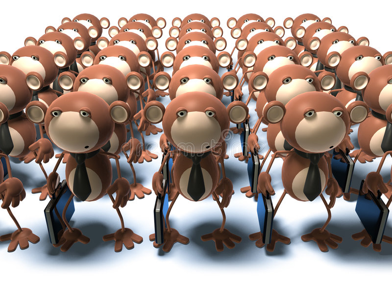 Monkeys at work. Clones and robots vector illustration