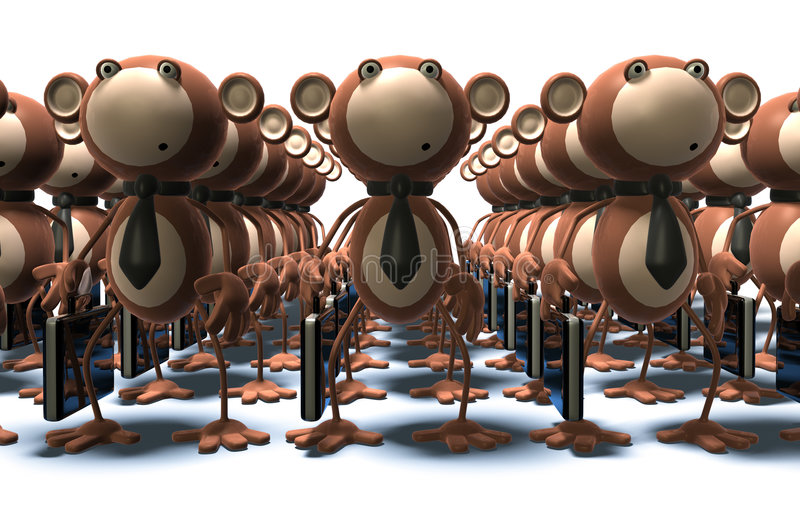 Monkeys at work. Clones and robots royalty free illustration