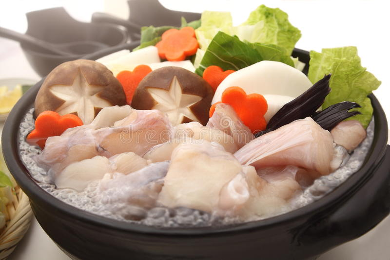 Monkfish Gorący garnek, Japoński jedzenie fotografia stock