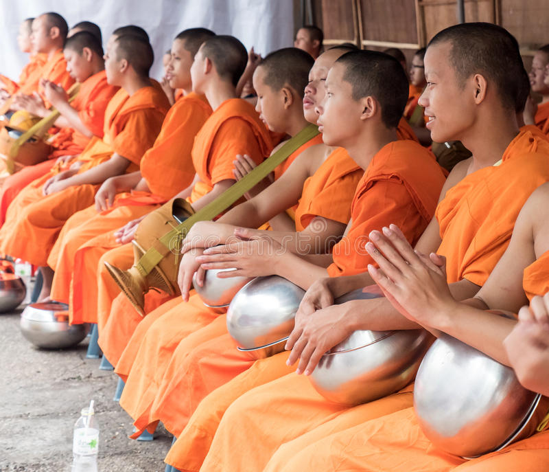Monks Alms Ceremony, Thailand royalty free stock photography