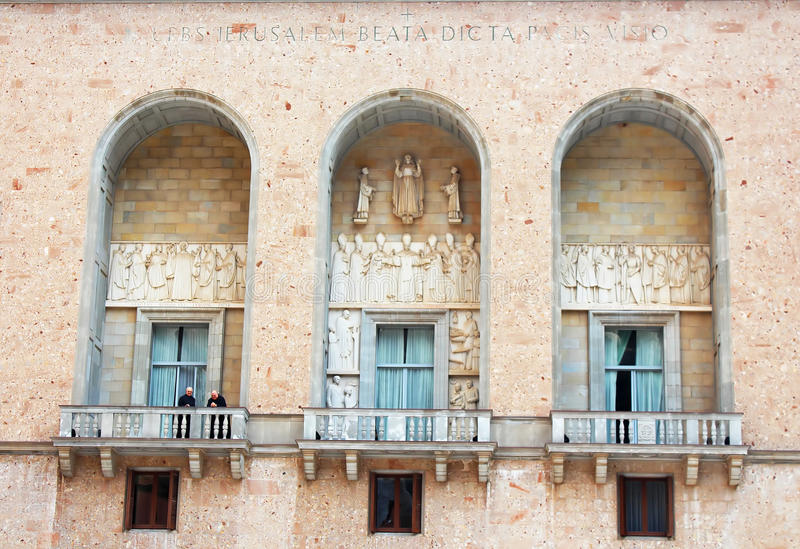 Monks are on balcony in Montserrat Benedictine monastery royalty free stock images