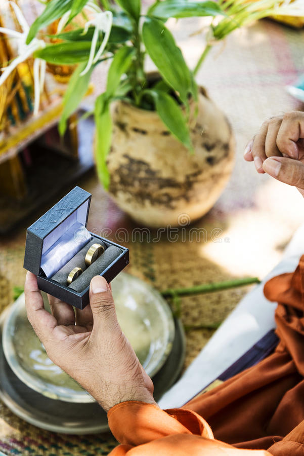 Monks Blessing Buddhist Wedding Ring Ceremony In Cambodia Stock