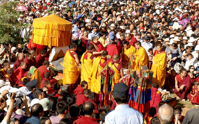 Monks crowd stock image