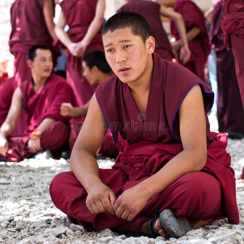 Monks debating in Sera Monastery, Tibet. Monks debating in Sera Monastery Tibet royalty free stock image