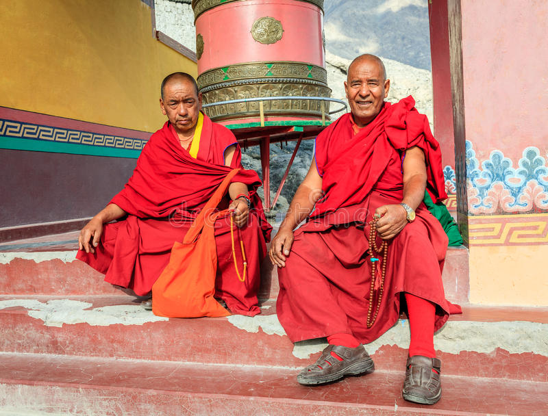 Monks of Diskit Monastery royalty free stock photography