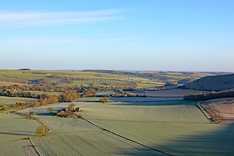 Monks Down, Wiltshire, in inverno fotografie stock